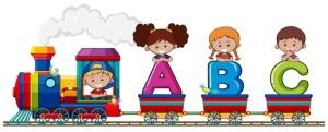 pociąg z literkami